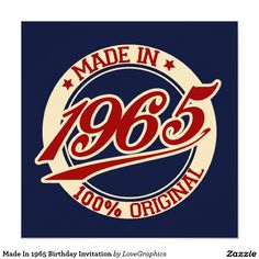 Made In 1965 Birthday Invitation