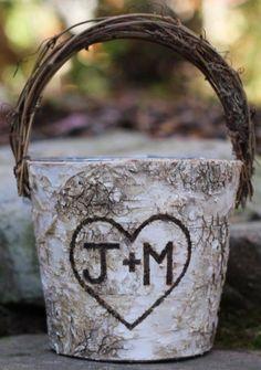 rustic birch flower girl basket / http://www.deerpearlflowers.com/flower-girl-basket-ideas/2/