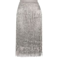 Rachel Zoe Delilah metallic fringed midi skirt ($595) ❤ liked on Polyvore featuring skirts, silver, fitted midi skirt, white midi skirts, pull on skirts, mid calf skirts and velvet cami