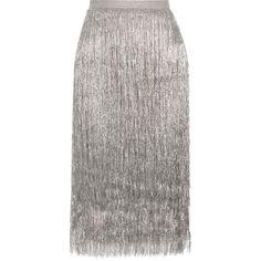 Rachel Zoe Delilah metallic fringed midi skirt (8.132.190 IDR) ❤ liked on Polyvore featuring skirts, bottoms, silver, saia, elastic waist skirt, velvet skirt, fitted midi skirt, fitted skirt and white fringe skirt