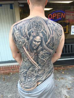 Saint michael madonna angel sleeve 4 flickr for Standard ink tattoo company