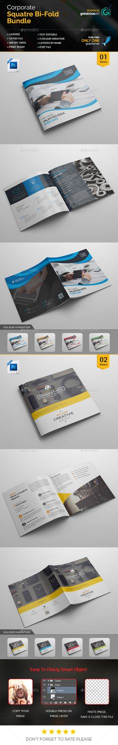 Square Bi-Fold Brochure Template PSD. Download here: http://graphicriver.net/item/square-bifold_2-in-1/16826881?ref=ksioks