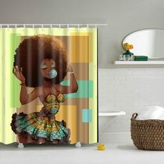 Afro Diva African Hairstyle Blowing Gum Shower Curtain Bathroom Curtains Fabric