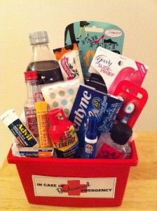 bachelorette party survival kit    Bucket  Diet Coke  Vodka (mini)  Skinny Cow bar  Rubber bands (slide proof)  Kleenex  Gum  Wisps brushes  Burt's Bees Chapstick  Advil  TUMS  Tide to-go mini  Hand sanitizer  Fab Feet Blisstick (blister protector)  Total Cost: $35