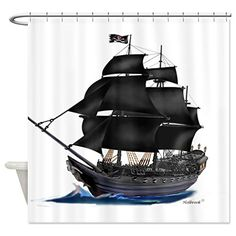 Best Pirate Ship Shower Curtain for the Bathroom Decor | The Best of This and That   #pirateshipshowercurtainglam