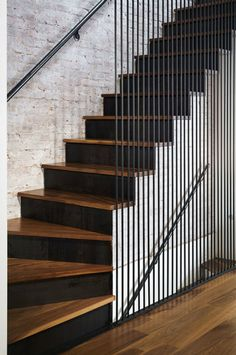 Leone Design Studio, Modern Architecture, Renovation, Interiors and Design Build in Brooklyn, New York Modern Stair Railing, Staircase Handrail, Stair Railing Design, Modern Stairs, Design Studio, House Design, Interior Stairs, House Stairs, Modern Exterior