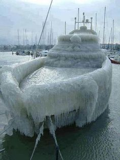 Lake Geneva ice storm 2005 covers a ship giving us a different looking ice cube