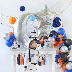 Prepare for BLAST OFF with this Outer Space celebration! Your little astronaut will have a galactical good time exploring the solar system, searching for Birthday Wishes For Kids, 3rd Birthday Parties, Birthday Party Decorations, Astronaut Birthday Party Ideas, 4th Birthday, Party Favors, Birthday Ideas, Nasa Party, You Are My Moon