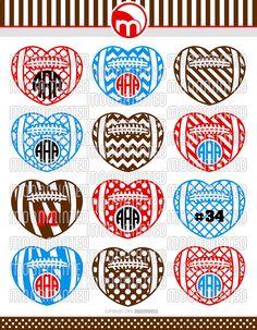 Football Hearts SVG Cut Files - Monogram Frames for Vinyl Cutters, Screen Printing, Silhouette, Die Cut Machines, & More