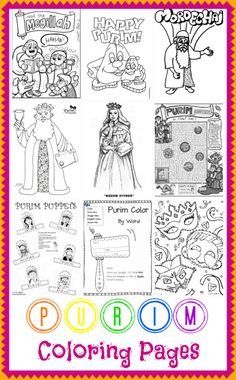 Purim Coloring Pages1 10 Free Purim Coloring Pages. Print these out to have on hand at home for your little ones. This is an easy (and of course, free!) way to teach your children about the holiday — and get them in the celebrating mood! #Jewish Holidays