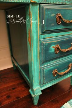Dumpy to Debutant, the tale of a teal distressed desk #tealdesk #heavilydistressed | Simple Southern Charm