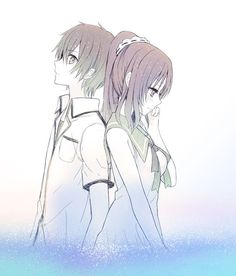 Nagi no Asukara- Hiradaira Chisaki and Kihara Tsumugu Anime Cupples, Anime Love, Chisaki Hiradaira, Best Anime Couples, Anime Group, Manga Cute, Kawaii, Beautiful Fairies, Black And White Pictures
