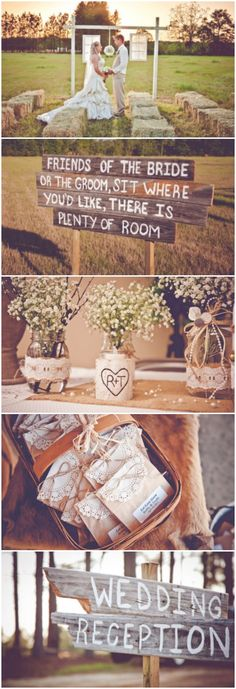 @Megan Ward Ward Ward Ward Ward Wiggins Not sure how I feel about hay bales, although maybe you could save on chair rental?? I also really like all these wooden signs, so neat!  Burlap inspired country wedding #KISSBride