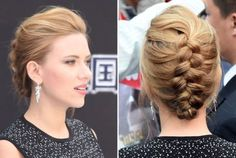 Scarlett Johansson's style works with mid-length and long hair. Back comb a section of your hair at the top of your head for volume. Reverse French braid your hair down the center of your head until you reach the ends. Tuck the leftover hanging section back underneath the braid, or let it hang off your shoulder. The style will keep hair off of your neck if it's warm, but still works for cooler fall weddings, too.