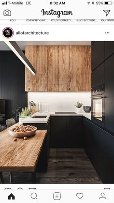 The 50 BEST BLACK KITCHENS - kitchen trends you need to see. It is no secret, in the design world, that dark kitchens are all the rage right now! Black kitchens have been popping up left and right and we are all for it, well I am anyways! Stylish Kitchen, Modern Kitchen Design, Interior Design Kitchen, New Kitchen, Kitchen Decor, Room Interior, Kitchen Wood, Kitchen Ideas, Kitchen Small