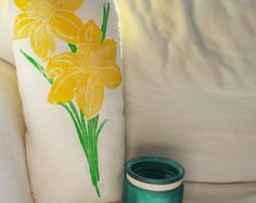 MADE TO ORDER. Hand Block Printed. Large Spring Plush Daffodil Pillow. Choose your colours!
