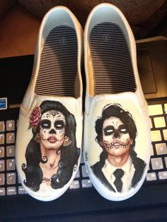 I painted sugar skull couple on shoes