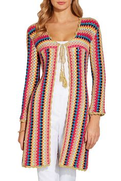 There's nothing like a cozy crochet cardi to top off your everyday looks, and this tassel-tie sweater gets colorful stripes with shimmer trim and three-quarter sleeves. Crochet Coat, Crochet Cardigan Pattern, Crochet Jacket, Crochet Clothes, Crochet Designs, Crochet Patterns, Hippie Crochet, Mode Crochet, Unique Clothes For Women