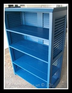 shutters repurposed bookshelf. Would be perfect for cute outdoor storage!