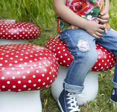 mushroom stools-Perhaps a Mario-inspired room after the Toy Story phase is over?