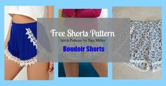 Pin for later...18.6k040 The free shorts pattern is for the Boudoir shorts designed by Tara Miller and published in the Stitch Magazine.  These modern wrap shorts feature a femenine curved slit in the front and they can be embellished with different kind of trims … Continued