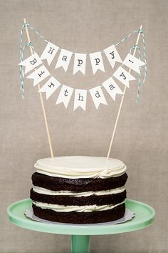 Happy Birthday Cake Banner by LingeringDaydreams on Etsy, $24.00