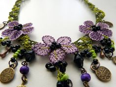 Needle lace necklace with purple and lilac flowers by MsPolite, $43.00