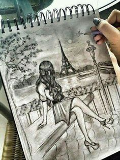 Easy Drawings: 70 Easy and Beautiful Eiffel Tower Drawing and Sketches Pretty Drawings, Amazing Drawings, Love Drawings, Beautiful Drawings, Amazing Art, Beautiful Girl Drawing, Drawings Of Girls, Hard Drawings, Hipster Drawings