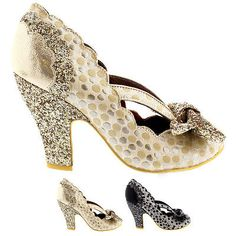 Ladies Irregular Choice Curtain Call Bow Courts Polka Dot High Heels All Sizes