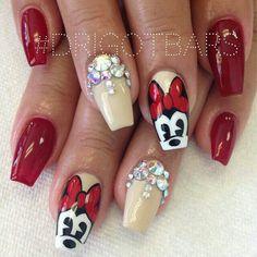 ♥ Fancy Nail Art, Fancy Nails, Cute Nails, Pretty Nails, Disney Nail Designs, Manicure Nail Designs, Nail Art Designs, Minnie Mouse Nail Art, Mickey Nails