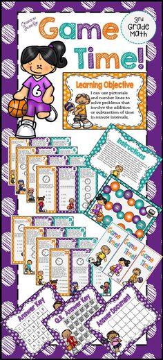 Game Time! supports the following 3rd Grade TEKS and CCSS:  3.7C - problem solving involving addition and subtraction of time intervals using pictorials and other tools. 3.MD.A.1 - Solve word problems involving addition and/or subtraction of time intervals in minutes.