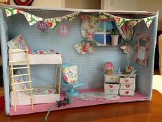 """Found on Cath Kidston's FB page in her """"Dream room in a box"""" photo album. im schuhkarton Dolls House Shop, Mini Doll House, Cardboard Dollhouse, Diy Dollhouse, Shoe Box Art, Craft Activities For Kids, Crafts For Kids, Box Bedroom, Interior Design Classes"""