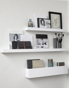 A chic 42 spm apartment in Sweden White floating shelves Clutter
