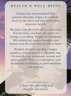 "Today's Wisdom Card & Affirmation Is ""HEALTH & WELL-BEING"" - I choose life-affirming food, thoughts & actions. ♥ Abundant Love, Blessings & (((Soul-Hugs)))- Jacqueline ♥ www.JacquelineJGarner.com ♥ Youtube.com/JacquelineJGarner ♥ www.Facebook.com/JacquelineJGarner ♥   To purchase this card deck- I have a link for them along with several free online card readings on my website at http://www.jacquelinejgarner.com/angel-oracle-card-decks-free-online-card-readings.html ♥"