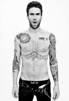 Adam levine, hot, sexy, maroon 5, tattoo