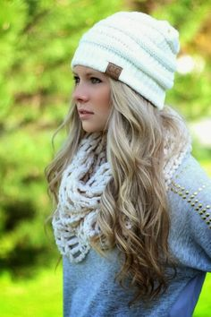 Adorable knitted scarf, headwrap and sweater for winter