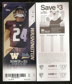 2017 University of Washington Huskies Game Used Tickets Vs. UCLA. - 10 28 47891149d