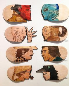 """Check out my son @mileslritchie killing it with his hand-cut and woodburned """"Versus"""" skate decks! Give him a follow! by rat136"""