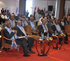 Delegates including Former President of South Africa, Thabo Mbeki, and Sudanese President Omar Al-Bashir, listen to panelists at Tana High Level Forum on Security in Africa.