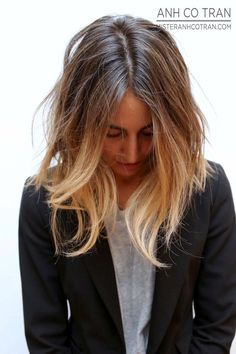 Ombre, Hair, Wavy Hair, Bob, Long Bob, Hair Color, Blazer, Tee, T-shirt, Anh Co Tran.
