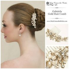 Small Gold Pearl & Rhinestone Bridal Hair Comb by Hair Comes the Bride - Bridal Hair Accessories & Jewelry www.HairComestheBride.com
