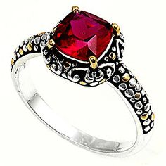 Sterling Silver Woman's Fashion Gold Tone Ruby CZ Ring Unique Band Sizes 3-14
