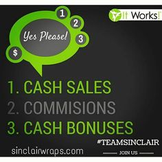 So many reasons to join It Works and our team: 1. Wrap cash sell a wrap for someone to try or a while box and cash in hand! Sell them at a wrap girl's night out  2. Commissions-you have residual bills why not make some residual commission from your loyal customers 3. It Works almost always has a bonus going on. Right now sign up by 8/31 and be eligible for the $500 Ruby bonus  Text me with any questions or message me ;) Check out more information at http://ift.tt/1hvQLxS and click on JOIN…