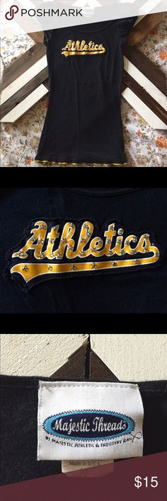 Oakland Athletics Crystal Women's Tee Oakland A's Crystal Yellow & Black Tee. Size: Medium. Slim fit. Excellent Condition. Majestic Threads Tops Tees - Short Sleeve