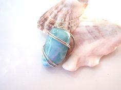 Blue Larimar Gemstone Wire Wrapped, Tarnish Resistant Sterling Silver  | GildedOwlJewelry - Jewelry on ArtFire