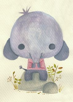 elefantito mini boceto en acuarela. // mini elephant  watercolor doodle.