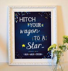 Chalkboard nursery art print- ralph waldo emerson- hitch your wagon to a star- space nursery - star nursery- baby boy nursery print