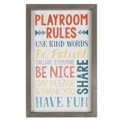 Playroom Rules Framed Art - N/A (Assembled - Wall Decor), Gray(Wood) Playroom Table, Playroom Wall Decor, Baby Playroom, Playroom Furniture, Playroom Organization, Frame Wall Decor, Frames On Wall, Wall Art, Playroom Ideas