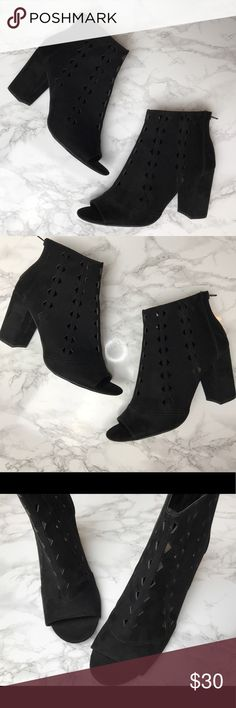 Open Toed Block Booties Beautiful open toed block booties that are PERFECT for spring & summer 🌸 They zip up in the back and are very comfortable! Shoes Ankle Boots & Booties