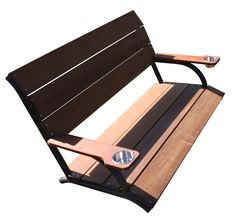 2-Person Dock Bench • IPE hardwood seat and back  • No sealing, staining or waterproofing required  • Stainless steel cup holder on each arm  • Marine-grade aluminum frame with antique bronze powder-coated finish  • Top- or side-mount base included  • Optional swing conversion hardware sold separately